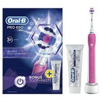 Braun Oral-B PRO 650 Rechargeable Electric Pink Toothbrush With Bonus Toothpaste