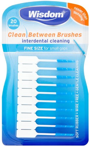 Wisdom Clean between 20 Interdental Blue FINE Size Brushes for Small gaps