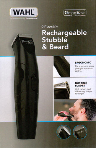 GroomEase  By Wahl 9685-517 9 Piece kit Rechargeable stubble and Beard Trimmer