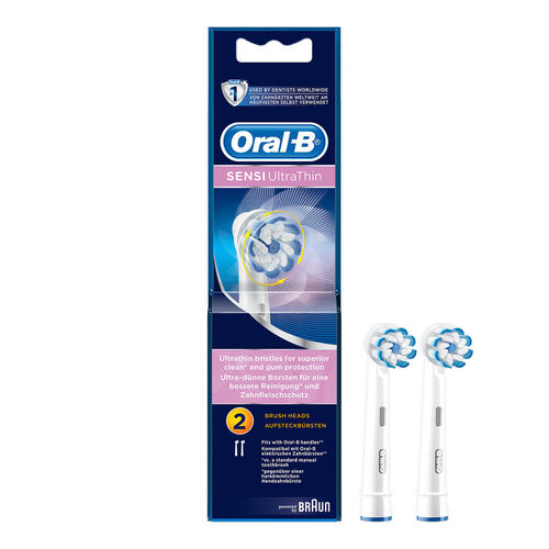Oral B – Powered by Braun Sensi Ultra Thin Brush Head  Pack of 2 Replacement heads